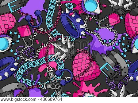 Seamless Pattern With Youth Subculture Symbols. Teenage Creative Illustration. Fashion Necklaces In