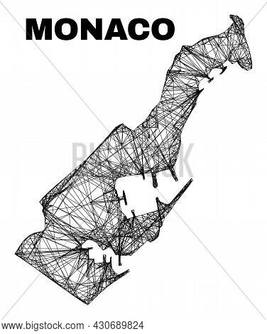 Net Irregular Mesh Monaco Map. Abstract Lines Are Combined Into Monaco Map. Linear Carcass Flat Net