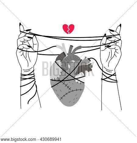 Girl Broken Heart. Red Hearts Broke Symbol Line Sketch Vector Illustration, Woman Person Hands Bindi