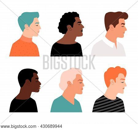 Modern Men Profiles. Male Profile Faces, Mans Heads Vector Illustration, Avatar People Characters, F
