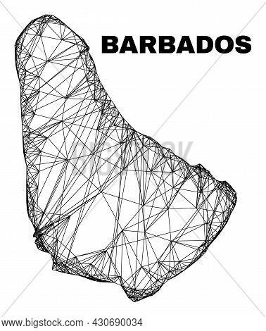 Wire Frame Irregular Mesh Barbados Map. Abstract Lines Form Barbados Map. Wire Frame 2d Net In Vecto