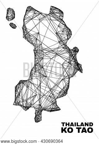 Net Irregular Mesh Ko Tao Map. Abstract Lines Are Combined Into Ko Tao Map. Wire Carcass Flat Net In