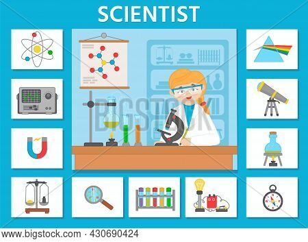 Vector Character Illustration Of Woman Scientist Doing Scientific Research. Game For Preschool Kids.