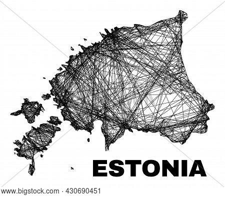 Wire Frame Irregular Mesh Estonia Map. Abstract Lines Are Combined Into Estonia Map. Wire Frame 2d N