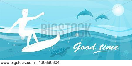 Good Time Background With Man On Surfboard Surfing In Big Blue Ocean Wave, Extreme Surface Water Spo