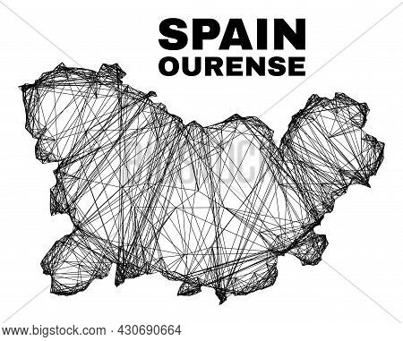 Net Irregular Mesh Ourense Province Map. Abstract Lines Form Ourense Province Map. Wire Carcass 2d N