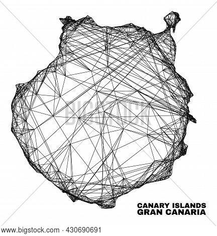 Carcass Irregular Mesh Gran Canaria Map. Abstract Lines Are Combined Into Gran Canaria Map. Wire Car