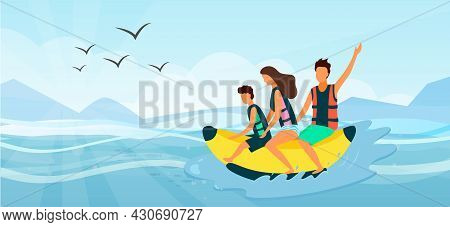Beach Activities On Tropical Resort, Family Riding On Inflatable Banana On Sea. Mother, Father And S