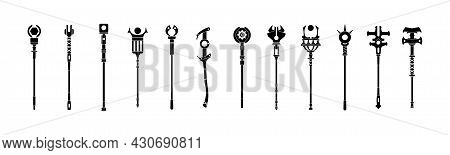 Black Wizard Staff. Magic Sorcerer Scepter And Shaman Tools Silhouette, Warlock Theurgical Staff For