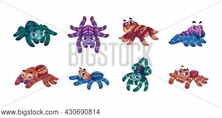Cartoon Spider. Cute Child Insect Mascot With Funny Big Eyes For Kids Illustration. Colorful Tarantu