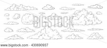 Clouds Sketch. Vintage Hand Drawn Sky Background With Large And Small Detailed Cloudy Shapes. Retro
