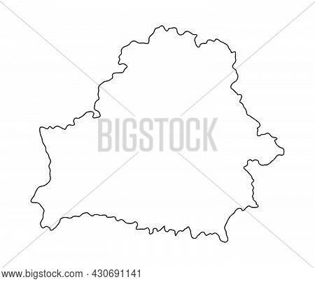 Belarus Outliine Flag Map. Vector Illustration Of National Symbol. Graphic Design Of Patriotic Eleme
