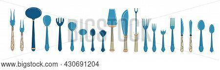 Cutlery. Cartoon Tableware With Spoons, Knives And Forks. Dining Tools And Tableware Icons. Banquet