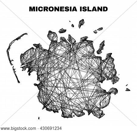 Carcass Irregular Mesh Micronesia Island Map. Abstract Lines Are Combined Into Micronesia Island Map