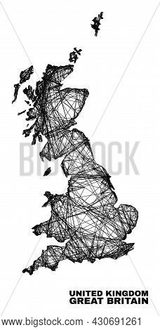 Carcass Irregular Mesh Great Britain Map. Abstract Lines Are Combined Into Great Britain Map. Wire C