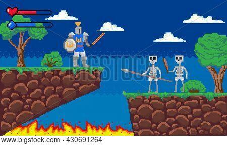 Pixel Game. Platform 8-bit Video Gaming Screen With Gameplay Skeleton Enemies And Knight Player. Arc