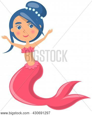 Beautiful Mermaid On White Background. Girl With Fish Tail And Blue Hair. Water Nymph, Cute Nixie. C