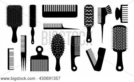 Black Hair Brush. Silhouettes Of Combs For Haircut. Barber And Hairdresser Tools. Hairstyling Or Hai