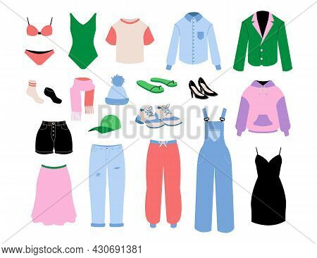 Women Clothes. Cartoon Fashion Girls And Adult Seasonal Outfits. Skirt And Shirt. Bright Pants Or Sh