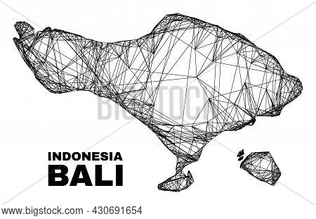 Net Irregular Mesh Bali Map. Abstract Lines Are Combined Into Bali Map. Linear Carcass 2d Net In Vec