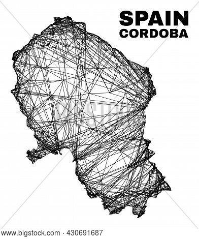 Wire Frame Irregular Mesh Cordoba Spanish Province Map. Abstract Lines Form Cordoba Spanish Province