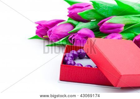 Bangles In The Gift Box And Tulips