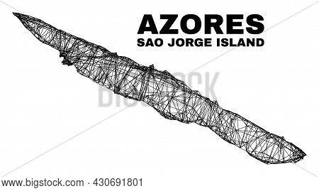 Wire Frame Irregular Mesh Sao Jorge Island Map. Abstract Lines Form Sao Jorge Island Map. Wire Frame