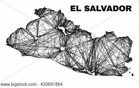 Wire Frame Irregular Mesh El Salvador Map. Abstract Lines Are Combined Into El Salvador Map. Wire Ca
