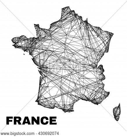 Carcass Irregular Mesh France Map. Abstract Lines Form France Map. Wire Carcass Flat Net In Vector F