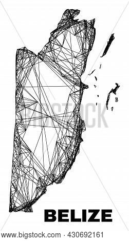 Wire Frame Irregular Mesh Belize Map. Abstract Lines Are Combined Into Belize Map. Wire Frame 2d Net