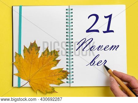 21st Day Of November. Hand Writing The Date 21 November In An Open Notebook With A Beautiful Natural