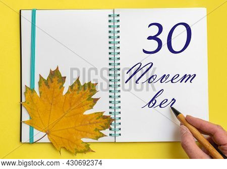30th Day Of November. Hand Writing The Date 30 November In An Open Notebook With A Beautiful Natural