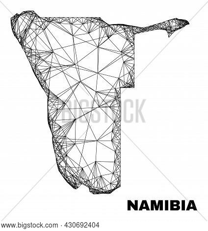Wire Frame Irregular Mesh Namibia Map. Abstract Lines Form Namibia Map. Wire Frame Flat Net In Vecto