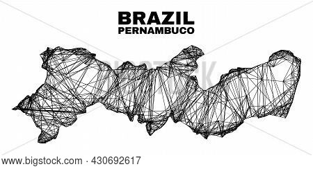 Wire Frame Irregular Mesh Pernambuco State Map. Abstract Lines Form Pernambuco State Map. Wire Carca