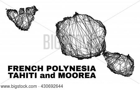 Wire Frame Irregular Mesh Tahiti And Moorea Islands Map. Abstract Lines Are Combined Into Tahiti And