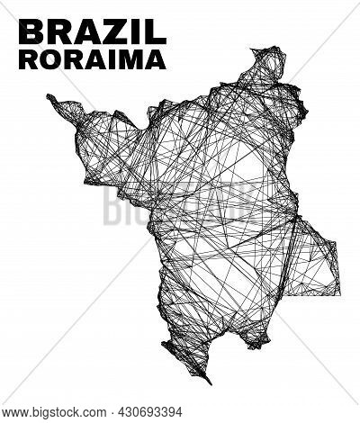 Wire Frame Irregular Mesh Roraima State Map. Abstract Lines Are Combined Into Roraima State Map. Wir
