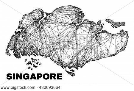Wire Frame Irregular Mesh Singapore Map. Abstract Lines Are Combined Into Singapore Map. Wire Frame