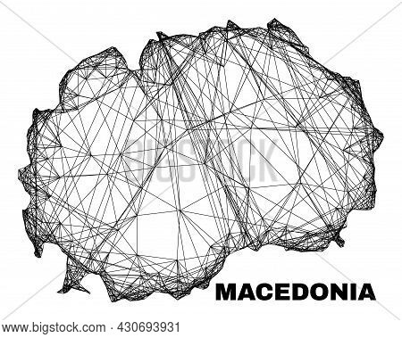 Wire Frame Irregular Mesh Macedonia Map. Abstract Lines Are Combined Into Macedonia Map. Wire Frame