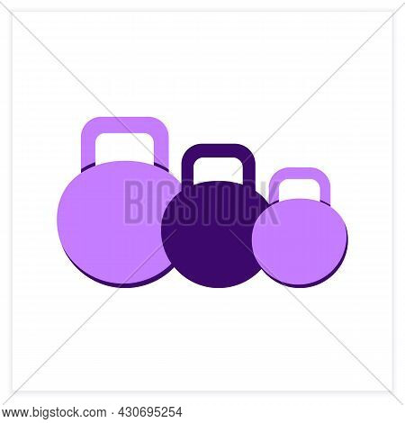 Kettlebells Flat Icon. Heavy Weight Dumbbells For Power Lifting. Concept Of Power Raining, Body Buil