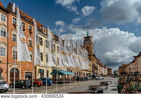 Cheb, Czech Republic - August 20, 2021. Town In Western Bohemia Lies On River Ohre.market Place With