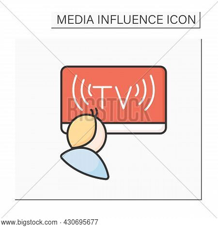 Political News Color Icon. Politicians On Tv Broadcast Screen. Media Influence On Politics And Offic