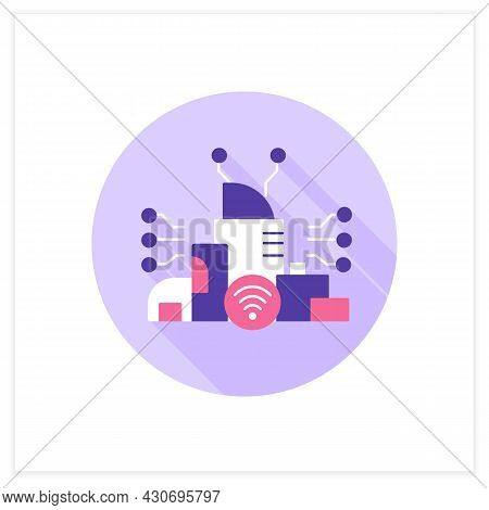 Smart City Flat Icon. Digital Smart Technologies Concept. Modern City With High-quality Internet Con