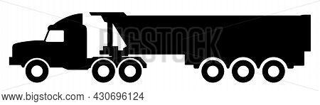 Dump Truck Semitrailer On A White Background.