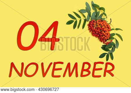 4th Day Of November. Rowan Branch With Red And Orange Berries And Green Leaves And Date Of 4 Novembe