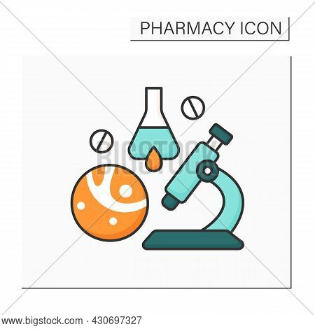 Biopharmaceutical Industry Color Icon. Biological Medical Product. Pharmaceutical Drug Product. Rese