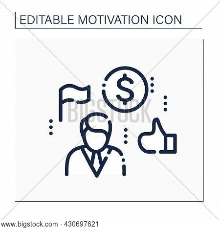 Success Line Icon. Successfully Employee. Positive Consequence Of Work. Significant Achievements At