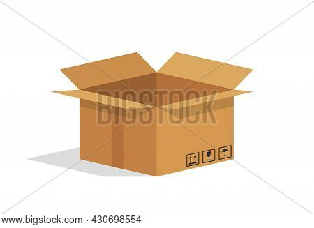 Cardboard Box. Open Brown Package. Empty Carton Parcel For Warehouse. Paper Box Isolated On White Ba