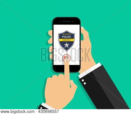 Police Call In Phone. Icon For Emergency And 911. Police Badge On Smartphone Screen For Security And