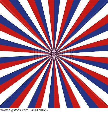 American Background With Sunburst. Blue And Red Circus Pattern For Usa. American Flag For 4th July.