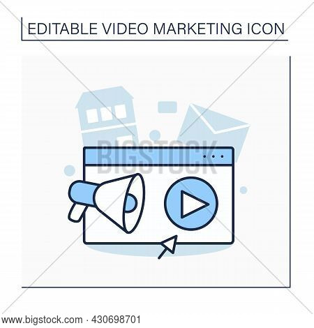 Agency Line Icon. Engaging Video Into Marketing Campaigns. Digital Agency, Offering Seo, Social Medi